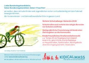 Kidical Mass Postkarte Bundestagswahl 2021