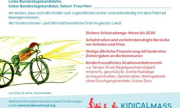 """Kidical Mass fordert von der neuen Bundesregierung: """"Lasst uns endlich sicher Fahrrad fahren!"""""""